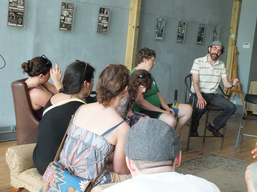 Dylan Fresco shares talks to the StoryWalk group at Fox & Egg Gallery.