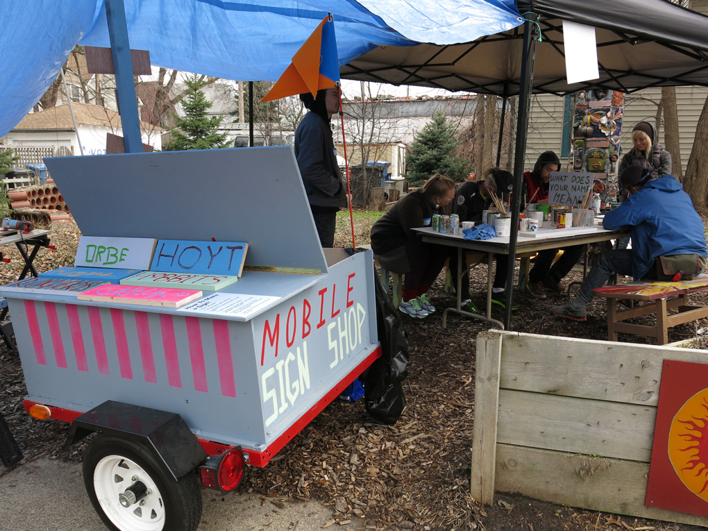 Mobile Sign Workshop at the ArtStop Garden