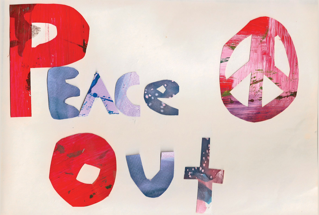 Peace Out - One of the collages created by the Collage Collaborative for Arts on Chicago