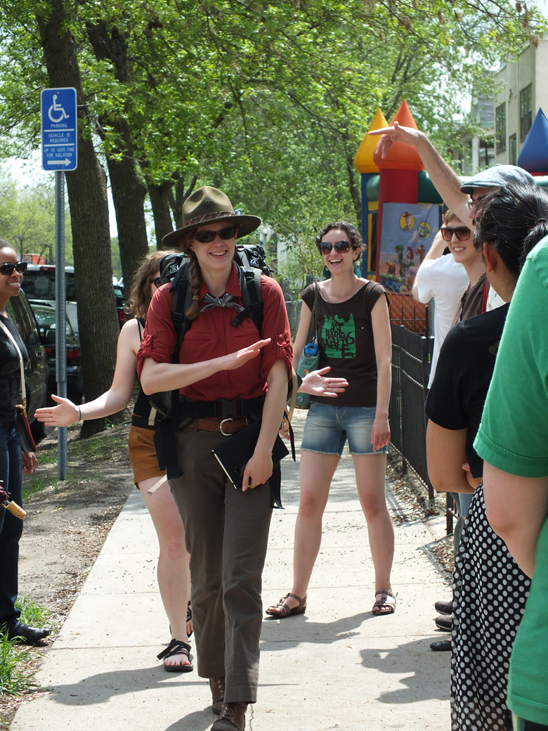 Stephanie Rogers leading an urban nature hike.