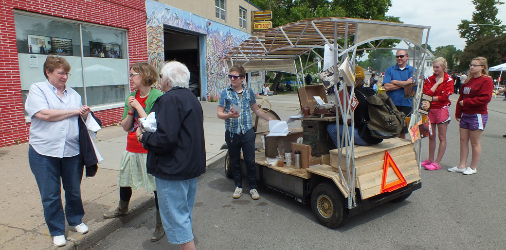 The Poetry Mobile in action at the 38th and Chicago Business Association festival.