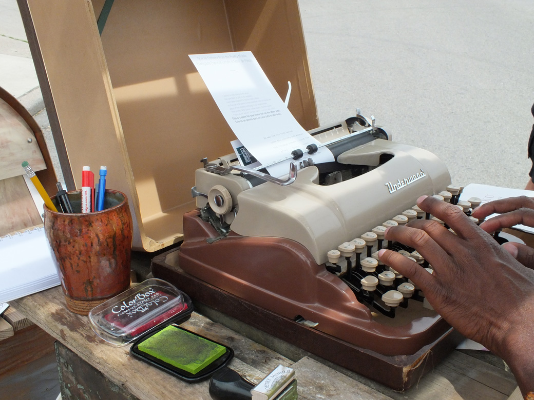 Typing at the Poetry Mobile.
