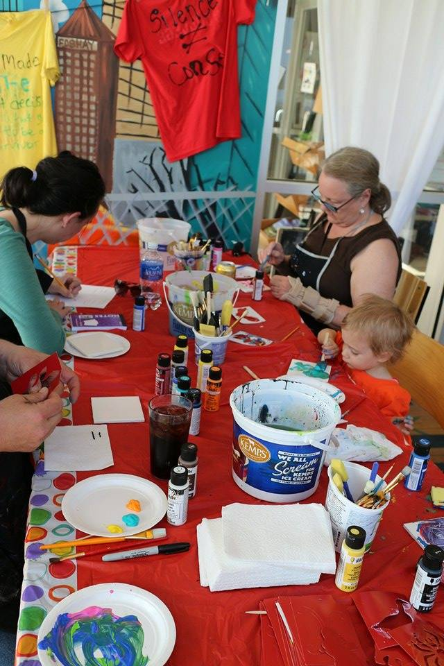 Tile-Painting Workshop; photo by Clarence Reed